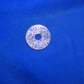 1942 French 20 centimes coin thrown into Gosford lake.jpg