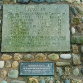 Name plaque on the memorial at Skateraw.jpg