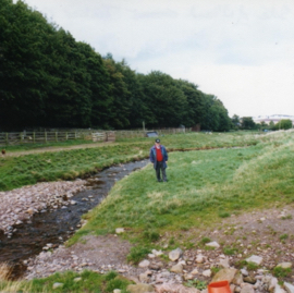 Lewis Jenkins on the site of the timber camp at Elmscleugh.jpg