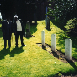 Chad & Ernest by the graves in Whittingehame churchyard.jpg