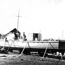 Motor launch under construction at Weatherhead's.jpg