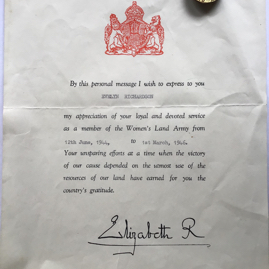 Evelyn Richardson's certificate of thanks and badge.jpeg