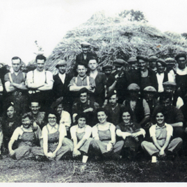 Harvest home at Saltoun, WLA, army and farm workers.jpg