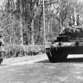 Polish tanks passing the entrance to Stevenson House.jpg